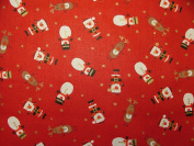 Christmas Characters Red 100% Cotton Fabric Craft Dress Quilting Curtain Xmas Tree Decoratation