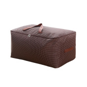 100L Large Storage Bag Fabric Clothes Bag Thick Ultra Size Under Bed Storage Moisture Proof Bag Coffee Wavelet Point
