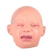 Kicode Creepy Smile Cry Baby Head Face Latex Scary Horror Mask for Halloween Party Costume Adult Cosplay