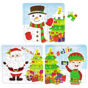 12 Kids Xmas Christmas 25 Piece Jigsaw Puzzles & FREE STICKERS