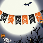 Halloween Banner Garland Decoration Felt Happy Halloween Pumpkin Flag Banner Party Decoration by Outee