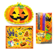 Disposable Halloween Party Tableware Supplies Set with Paper Plates Napkins Straws Pumpkin Paper Decoration for Home Outdoor Party Holiday Decoration