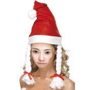 LUFA Adult Christmas Party Fancy Dress Claus Costume Headwear Santa Hat with Braid Christmas Decoration