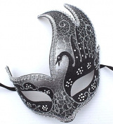 Stunning Black & Silver Venetian Masquerade Carnival Ball Party Eye Mask