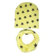 Gemini_mall® Fashion Unisex Baby Girls Child Boys Star Pattern Hats Scarf Two-piece Set