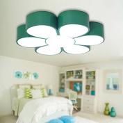 Buluke Creative Cartoon Children's Room Bedroom LED Flower Ceiling light 45cm,green