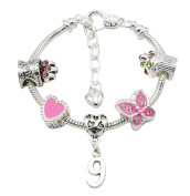 Girl's Silver Plated Birthday Charm Bracelet with Gift Pouch - Ages 1- 11 Available