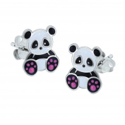 Sterling Silver Panda Bear Earrings