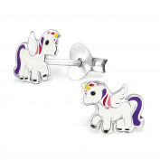 Girls Purple Multi Unicorn Stud Earrings