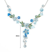 Glamorousky Blue Flower and Tiny Butterfly Necklace with Blue Austrian Element Crystals