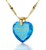 "Gold Plated Heart Necklace ""I Love You to The Moon and Back"" Inscribed in 24ct Gold on CZ Love Pendant, 46cm Gold Filled Chain - NanoStyle Jewellery"