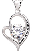 """ALOV Jewellery Sterling Silver """"Daddy's girl love forever"""" Love Heart Cubic Zirconia Pendant Necklace"""