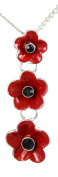 Angélys Ladies Red 3 Poppy Pendant Necklace