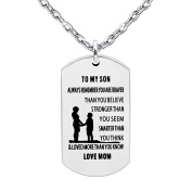 lauhonmin Mother Son Pendant Necklace To My Son You are Braver Stronger Smarter than you think Love Mom