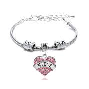 Gift for Girl Silver Alloy Pink Crystal Love Heart Niece Charm Pendant Bracelet Family Bangle Adjustable