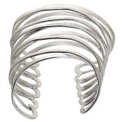 Yazilind Silver Cuff Bangle Bracelet Made of Metal Plated Silver Adjustable