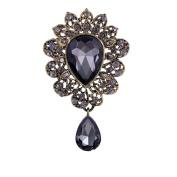 YAZILIND Fashion Lily Flower Inlaid Rhinestones Alloy Zirconia Pendant Brooch Pin Women Girls Accessories