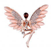 Stunning Guardian Angel Brooch Pin with Simulated Cat's Eye Stones and Crystals