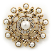 Vintage Inspired Crystal, Faux Pearl Filigree Round Brooch In Gold Tone - 47mm Diameter