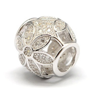 PAVE FLOWER Rondelle - Cubic Zirconia - Genuine Solid 925 sterling silver European charm bead