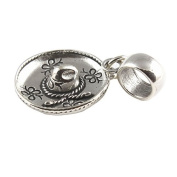 Sterling Silver Sombrero Mexican Hat Dangle Bead /Charm To Fit European Style Charm Bracelets