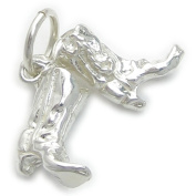 Pair of Cowboy boots sterling silver charm .925 x 1 Cow Girl Boy boot EC132