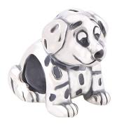 Dalmatian Dog Charm Bracelet Bead - Sterling Silver 925
