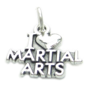 I Love Martial Arts sterling silver charm .925 x 1 Kung Fu Karate charms CF4704
