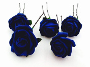 5 Mini Navy Blue Roses Artificial Hair Flower Pins