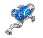 Sterling Silver Blue Lab Opal Frog Pendant