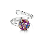Sterling Silver Real Flower Adjustable Ring - Forget-Me-Not - Round - in giftbox