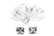 Birth Stone Jewels 5 mm Diamond White Princess Cut Cubic Zirconia Gem Stones Pack Of 2
