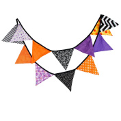 Black Orange Purple Halloween Party Banner Double Sided Fabric Bunting Themed Party Wedding Bridal Shower Garland Hanging Pennant Triangle Flag Garden Patio Living Room Decor
