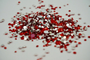 Red Rhinestones, 500 Per Pack, Mixed Sizes, Flat Back, Acrylic Gems / Crystals