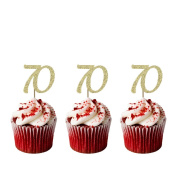 70th Birthday Cupcake Toppers - Pack of 10 - Number 70 Glitter Gold
