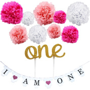"KUNGYO Girl's First Birthday Party Decoration Kit- Pink Sweet Heart ""I am One""Bunting Banner+9 Pcs Tissue Paper Flower Pom Poms Garland+ ""One""Cake Topper-Perfect 1ST Party Supplies"