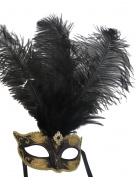 Mask & Co Ladies Quality Black & Gold Feather Venetian Masquerade Party Ball Eye Mask