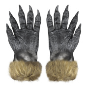 BXT Unisex Halloween Costume Cosplay Wolf Gloves Fancy Dress Costume Accessories Horror Scary Cosplay Props Masquerade Party Supplies Hands Claws Latex Gloves