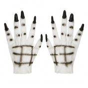 BXT Unisex Halloween Costume Cosplay Ghost Gloves Fancy Dress Costume AccessoriesWhite Horror Scary Cosplay Props Masquerade Party Supplies