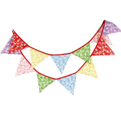 Ruikey Rural10.2m Floral Fabric Bunting Banner with 12 Triangle Flags Double Sided Cotton Cloth Garlands Pennant Decoration for Wedding Birthday Party Bedroom Tent