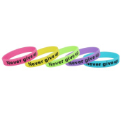 Andux Zone 5pcs Inspirational Silicone Rubber Wristband Never Give Up Multicolors for Men and Women GJSH-01