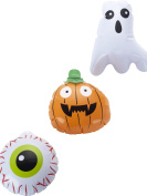 Blow Up Inflatable 15cm Set Of 3 Halloween Pumpkin Ghost Eyeball Party Fancy Dress Prop Decoration Toy