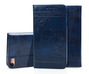 iPhone 6 Plus Case, iPhone 6S Plus Wallet Case, cosy HUT Luxury Retro Genuine Leather Magnetic Flip Wallet Case iPhone 6 Plus / 6s Plus Navy Blue, Magnetic Closure Card Slots Money Pouch, Retro Leather Wallet Case Purse Protective Cover Stand Feature F ..
