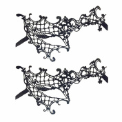 (2 Pack)Black Masquerade Masks Sexy Lace Face Eye Mask for Fancy Dress Masquerade Ball Wedding Bachelorette Party Halloween Mardi Gras Carvinal