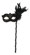 Mask & Co Ladies Quality Sparkling Black & Gold Feather Venetian Masquerade Party Ball Eye Mask -Hand Held on a Stick