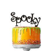 Spooky Halloween Cake Topper - Glittery Black Cake Topper