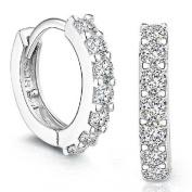 COFCO 1Pair Women Jewellery Silver Rhinestones Hoop Stud Earrings