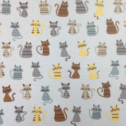 "Beige Novelty Cat Cotton Rich Linen Look Fabric For Curtains Blinds Craft Quilting Patchwork & Upholstery 55"" 140cm Wide – Sold by the Metre"