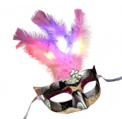 Malloom 2017 Halloween Women Venetian LED Mask Masquerade Fancy Dress Party Princess Feather Masks
