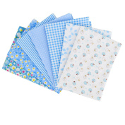LA HAUTE 7Pcs 50x50cm Blue Fabric Bundles Flower Printed Cotton Fabric Comfortable Patchwork Fabric Home Textile Material Cloth for Sewing